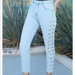 NWT Kendall & Kylie Grommet Cut Out Mom Jeans